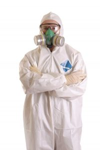 man in hazmat suit